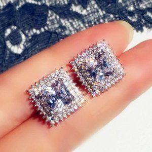 NEW 18K Princess Cut Double Halo Diamond Earrings